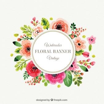 Bonito marco de flores en estilo vintage