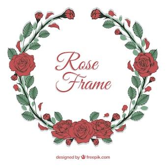 Bonito marco de rosas rojas