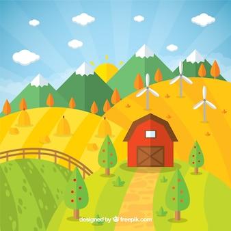 Bonito paisaje de granja con montañas  en diseño plano