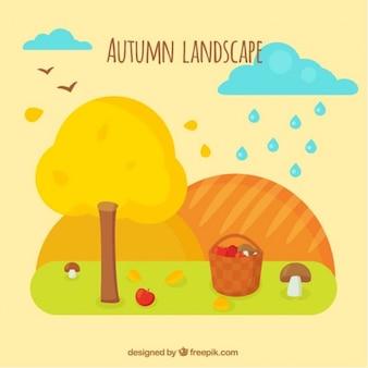 Bonito paisaje de otoño con cesta