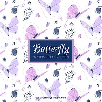 Bonito patrón de mariposas pintadas a mano