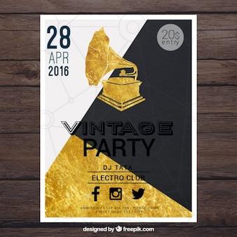 Bonito póster para una fiesta vintage