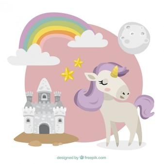 Bonito unicornio con un castillo