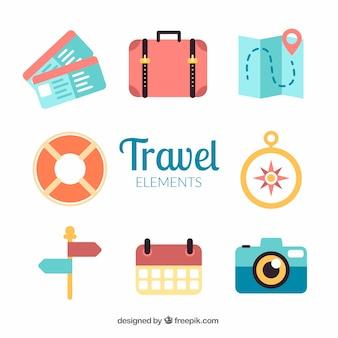 Bonitos accesorios de viaje en diseño plano