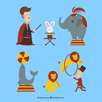Bonitos animales de circo y hombres de espectáculo
