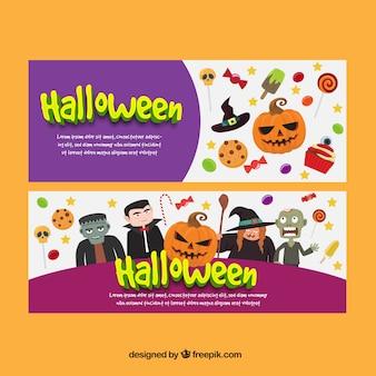Bonitos banners con monstruos y artículos de halloween