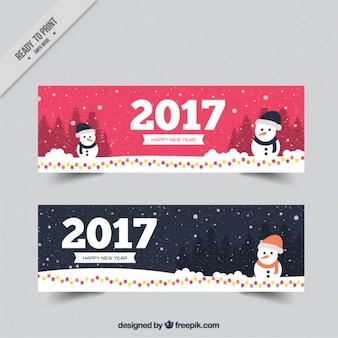 Bonitos banners de 2017 con muñeco de nieve