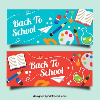 Bonitos banners de colores con objetos de escuela