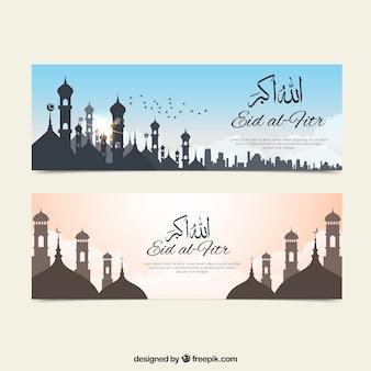 Bonitos banners de eid al fitr de paisajes