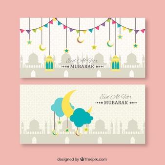 Bonitos banners de eid al fitr en diseño plano
