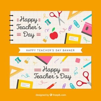 Bonitos banners de feliz día del profesor con elementos