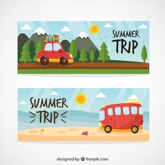 Bonitos banners de paisaje de viaje de verano dibujados a mano