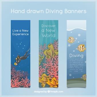 Bonitos banners de paisajes de submarinismo dibujados a mano