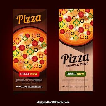Bonitos banners de pizza estilo realista