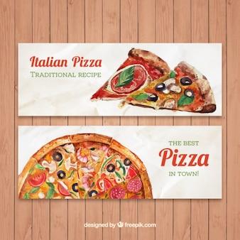 Bonitos banners de pizza tradicional de acuarela