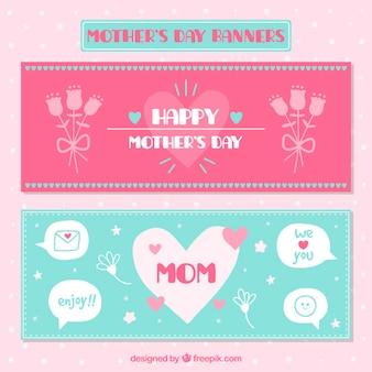 Bonitos banners del día de la madre con flores y globos de diálogo