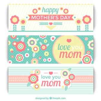 Bonitos banners del día de la madre en diseño vintage