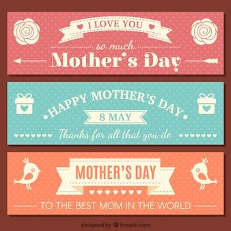 Bonitos banners del día de la madre en estilo vintage
