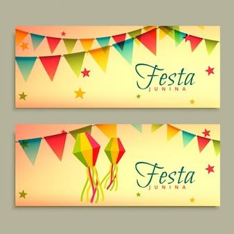 Bonitos banners del festival de la fiesta junina