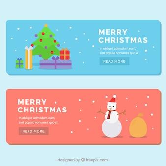 Bonitos banners planos para navidad