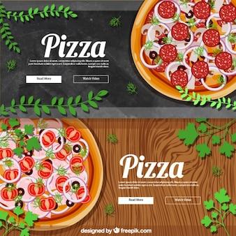 Bonitos banners realistas para pizza