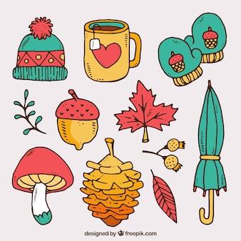 Bonitos elementos de otoño dibujados a mano