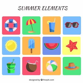 Bonitos elementos de vacaciones de verano