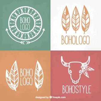 Bonitos logos dibujados a mano en diseño boho