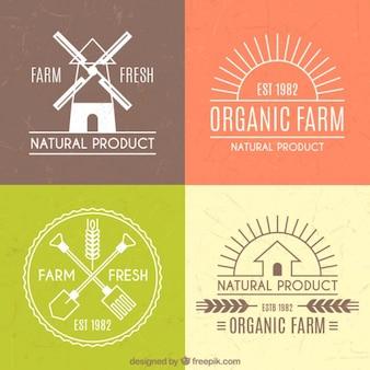 Bonitos logos para granja con contorno