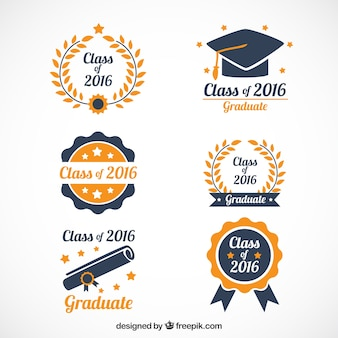 Bonitos logotipos de graduación dibujados a mano