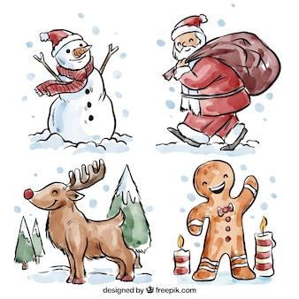 Bonitos personajes de navidad pintados con acuarelas