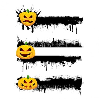 Bordes desgastados de halloween con calabazas malvadas