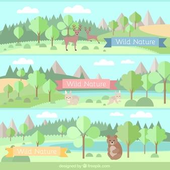 Bosque con animales banderas