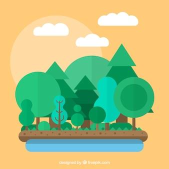 Bosque en diseño plano