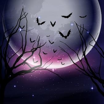Bosque oscuro con una luna llena para halloween