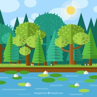 Bosque plana y geométrica con un lago