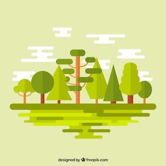 Bosque verde en diseño plano
