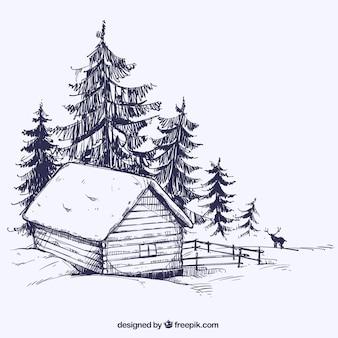 Bosquejo de paisaje de invierno con cabaña de madera