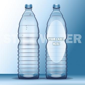 Botella de agua realista con etiqueta plantilla