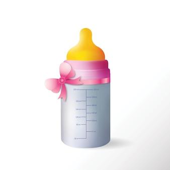 Botella de bebé con cinta linda