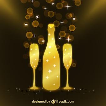 Botella de champán brillante con copas