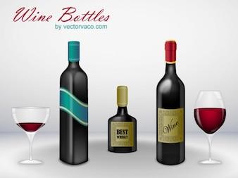 Botella de vino con vidrio