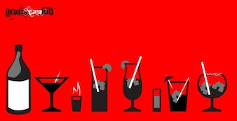Botellas y vidrio liqour