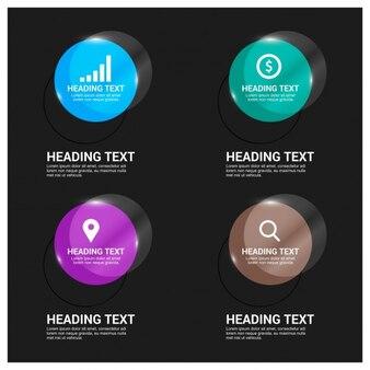 Botones brillantes para aplicación móvil