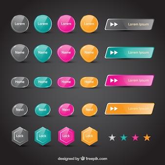 botones coloridas de web