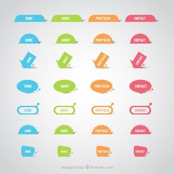 Botones coloridos de página web