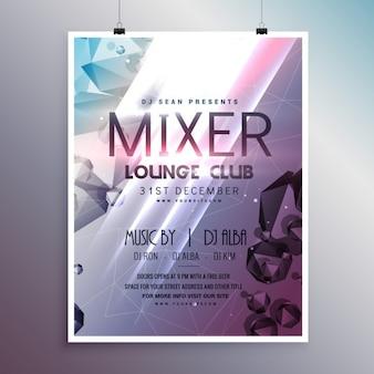 Brillante cartel con formas poligonales para una fiesta en la discoteca