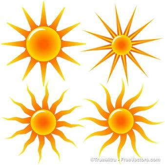 Brillante colección de iconos de sol del verano