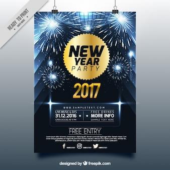 Brillante folleto de año nuevo con fuegos artificiales