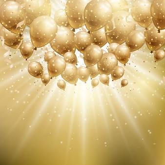 Brillante fondo con globos dorados para cumpleaños
